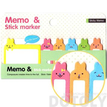 Adorable Bunny Rabbit Shaped Animal Memo Pad Post-it Index Sticky Pad | Design B
