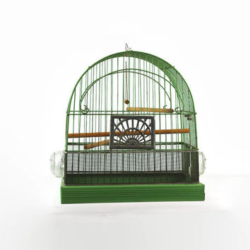 Vintage Birdcage, Antique Wire Bird Cage, 1930s Green Crown Birdcage