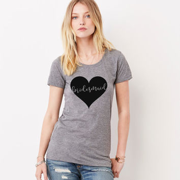 Love Struck - Heather Grey Bridal Bachelorette Hen Do Party Crew Neck Tee Available in Mrs. Bride Bridesmaid and more