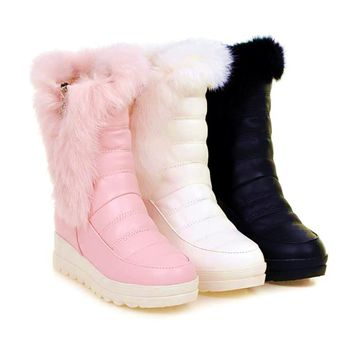 Top.Damet Women Snow Boots Winter Warm Casual Shoes Platform Leather Solid Color Plush Non Slip Boots with Fur Lined Shoe Girls