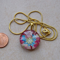 New one of a kind round glass tile Japanese chiyogami print with gold magenta blue floral design necklace with chain Go Green