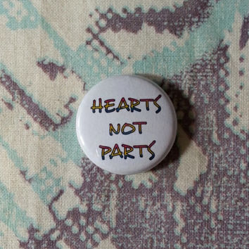 Hearts Not Parts Pansexual Pride Flag Button or Magnet