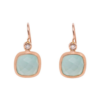 Green Chalcedony Earrings with Diamond