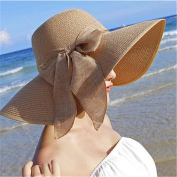 Women Large Brim With Ribbons Bow Beach Hat
