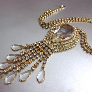 Clear Rhinestone & Tear Drop Dangle Necklace, Lavalier, Pale Citrine, Gold Plated, Vintage