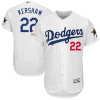Men's Los Angeles Dodgers Clayton Kershaw Majestic White 2017 MLB All-Star Game Authentic Flex Base Jersey