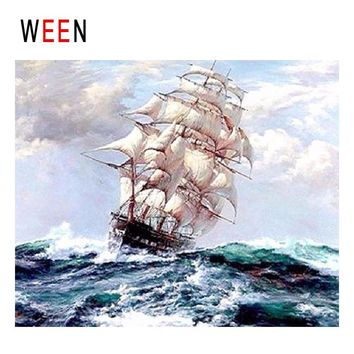 WEEN Ships Sailing Diy Painting By Numbers Abstract Ocean Waves Oil Painting On Canvas Cuadros Decoracion Acrylic Wall Art 2018