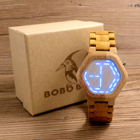 BOBO BIRD Men's Wooden LED Watches Digital Watch  Kisai Night Vision Calendar Wristwatch for Men Minimal LED Time Display E03