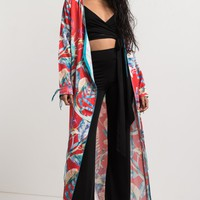 Lightweight Silky Open Front Tie Up Tropical Floral Print Kimono in Cherry