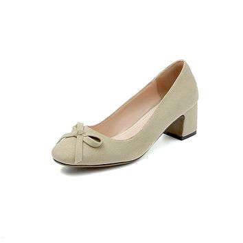 Medium-heeled Thick-heeled Square Head Butterfly Knot Shallow Mouth Women Chunky Pumps Shoes