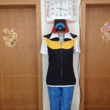Japanese Anime  Pocket Monsters Trainer Ash Ketchum Cosplay Costume Halloween Costumes Full SetKawaii Pokemon go  AT_89_9