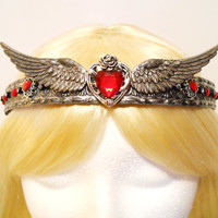 Heart, Crown, Silver Tiara, with Wings, Queen, Princess, Game of Thrones, Valentines Day, Queen of Hearts Costume, Steampunk, Reign, Royal