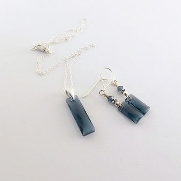Necklace Set Queen Baguette Crystal Montana Blue and Sterling Silver