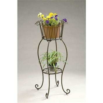 SheilaShrubs.com: Tall Round Wave Metal Planter Stand PL216 by Deer Park Ironworks: Plant Stands