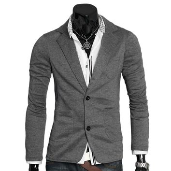 Spring Autumn Men's Casual Suits Men Ultra-slim Slim Jacket Single Button cotton blazer Male Turn-down Collar Business Outerwear