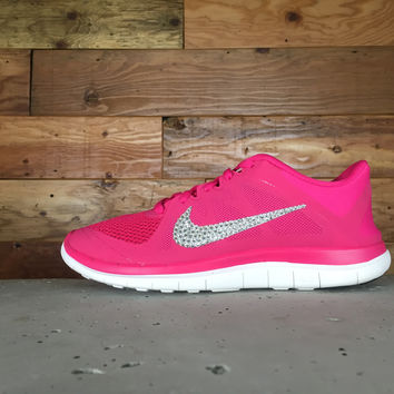 Bling Nike Free Run 5.0 Running Shoes Hand Customized With Swarovski Crystal Rhinestones Pink/White  - Glitter Kicks - Shoes