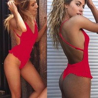 Women Sexy Ruffles Bikini Push-Up Padded Swimwear Swimsuit Z00314