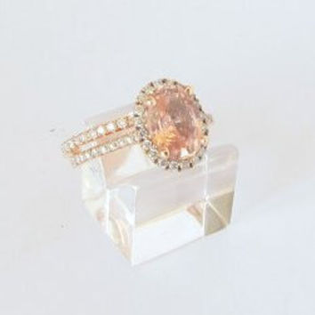 Semi mount gold ring, here in rose gold engagement ring, diamonds engagement ring CTALIN,  setting only
