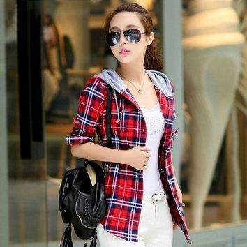 2017 Autumn Fashion Cotton Long Sleeve Red Checked Plaid Shirt Women Hoodie Casual Fit Blouse Plus Size Sweatshirt