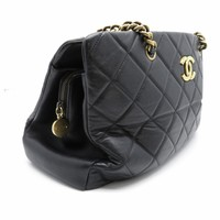 Chanel Quilting Calfskin Leather Gold Metal Shoulder Bag Black 9756