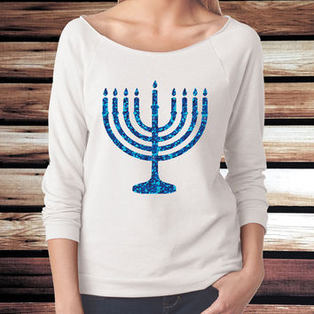Hanukkah Shirt - Cute Hanukkah Shirt for Women - Menorah Shirt - Glitter Menorah Shirt - 3/4 Sleeve Shirt - Glitter Hanukkah T-Shirt