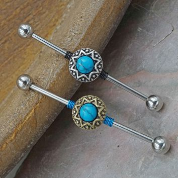 Opal Tribal Industrial Barbell - Silver or Gold
