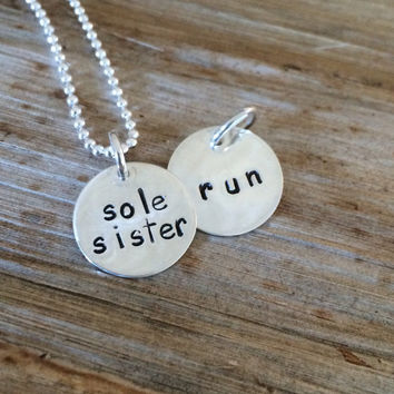 Sole Sisters - Custom Runners Engraved Personalized Necklace - Two Sided - Sterling Silver 5K 10K 13.1 26.2 Marathon Charm Pendant