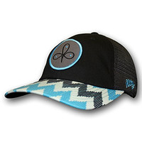 Hooey Hat - Women's Clover Leaf Trucker Hat - Black/Blue