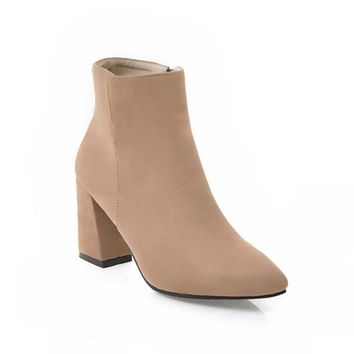 Pointed Toe Zip Chunky Heels Chelsea Boots for Women 1129