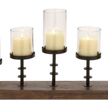 Amazing Styled Wood Metal Glass Candelabra