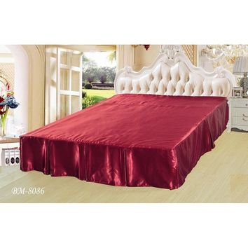 "Shiny Solid Sangria Ruby Red Dust Ruffle Pleated Bed Skirt - 14"" Drop - Cal King (BS-BM8086)"
