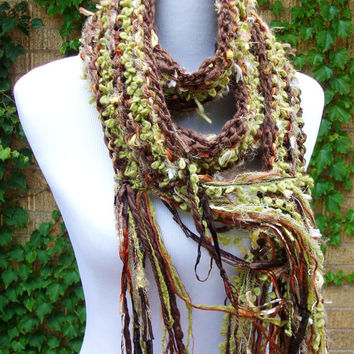 Brown and Green Hand Knit Scarf Autumn Colors Chunky Style Fringe Accents Imported Yarns