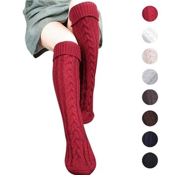 Women Winter Cable Knitted Long Boot Socks Over Knee High Stockings