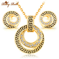 jewelry sets african bridal rose 18K gold austrian crystal fashion necklace earrings luxury wedding women bridal jewellery set