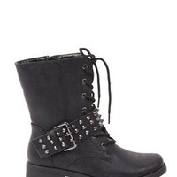 lace up mid height combat boot with studded strap