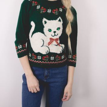 Vintage Cat Kitty Ugly Christmas Sweater