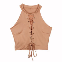 Lace Up Tie Front Stretch Crop Tops Sexy Women Bandage Shirt Seeveless Womens Halter Ladies Shirts Clothes