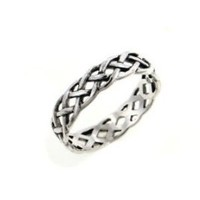 Narrow 4mm Neverending Celtic Knot Sterling Silver Pinky Band Ring Size 5(Sizes 3,4,5,6,7,8,9,10,11,12,13,14,15,16)