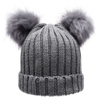 DCCKJG2 Women's Winter Chunky Knit Double Pom Pom Beanie Faux Fur Hat Women Wool Knit Beanie Bobble Ski Cap Pompom Beanies Gorros W0