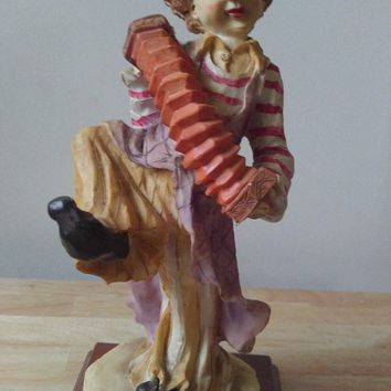Vintage Porcelain Clown Statutes (Clown Playing Accordian) (12 inches)