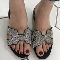 Hermes summer new style open-toe fashion rhinestones full drill rough with female sandals Black