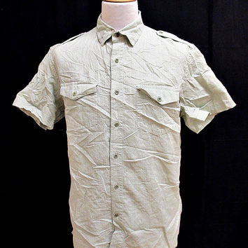 Retro Banana Republic Green White Zig Zag Pattern Shirt Medium
