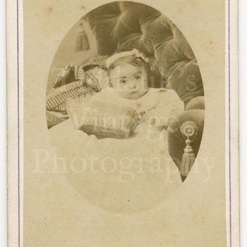 CDV Carte de Visite Photo Victorian Baby Girl Sitting on Chair Portrait by Boname of Besançon France