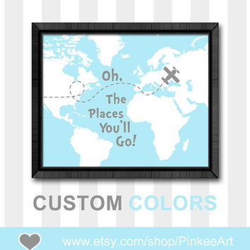 blue grey oh the place you'll go baby room decor motivational baby gift gift for new parents dr seuss quotes kids nursery poster map print