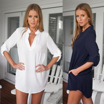 Fashionable Solid Women's Casual Long Sleeve Tunic V Neck Loose Tops Shirt