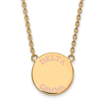 14K Plated Silver Delta Gamma Large Enamel Necklace