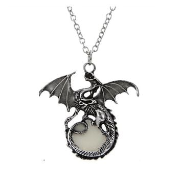 Women's Punk Luminous Dragon Pendants Necklace