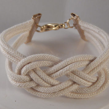 Sailors Knot Rope Cuff Bracelet, Nautical Wedding Summer Beach Jewelry - handmade gift from New England - unisex cord traditional accessory
