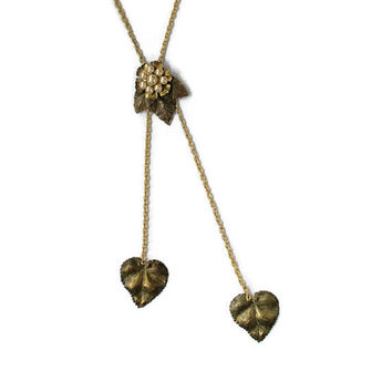 Faux Pearl And Leaf Lariat Bolo Necklace, One Of A Kind