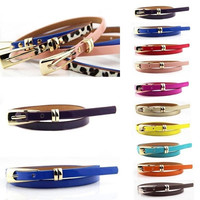 New Hot Fashion Women Multicolor Waistband PU Leather Thin Skinny Buckle Belts = 1932722244